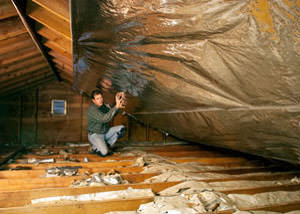 A radiant barrier installed in a Borger attic