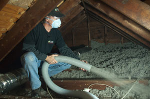 Blown-in Cellulose Insulation in Amarillo, TX attic